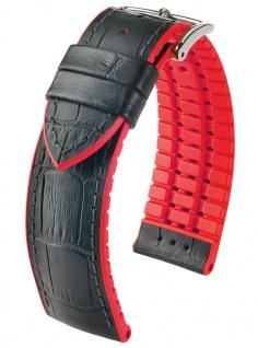 HIRSCH Performance | Uhrenarmband aus Leder/Kautschuk schwarz/rot Allogatorprägung 30960S