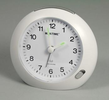 Maxitime Analog Wecker Funkuhr weiß Beleuchtung Schlummertaste 13175