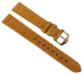 HIRSCH | Uhrenarmband > Leder, goldbraun mit Krokoprägung > Dornschließe | Kurze-Länge | 36419