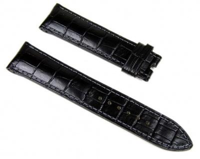 Junghans Uhrenarmband aus Leder, schwarz 22mm mit Doppelloch 027/7410