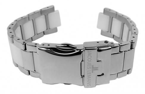 Jacques Lemans Uhrenarmband Edelstahl/Ceramic Band silbern/weiß für Jubiläumsuhr 40-3 B