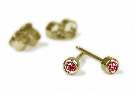 Minott Erstohrstecker Ohrschmuck Ohrringe Rund Ø 2, 8mm Titan 100% Steril mit rotem Stein 29058
