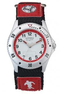 Adora Young Line   analoge Quarz Armbanduhr für Jungen   Klettband rot - Fußballmotiv   36179