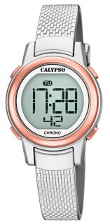 Calypso Kinderarmbanduhr Quarzuhr Digital Kunststoff silbern/rose mit Stoppfunktion Alarm Licht K5736/2