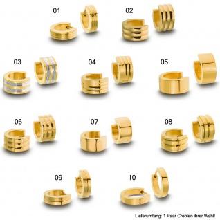 Minott Damen Ohrschmuck Ohrringe Creolen aus Edelstahl PVD Gelbgold, hochglänzend mit 25936