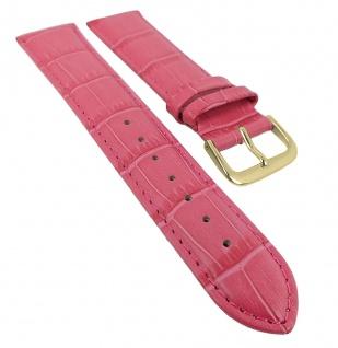 Minott Uhrenarmband Leder Band pink mit Ton-in-Ton Naht mit Alligatorprägung 29483
