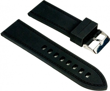 Minott Uhrenarmband Silikon Band schwarz glatt 25542S