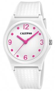 Calypso Damenarmbanduhr Quarzuhr Analoguhr Kunststoffuhr weiß mit sehr weichem Silikonband K5743/1