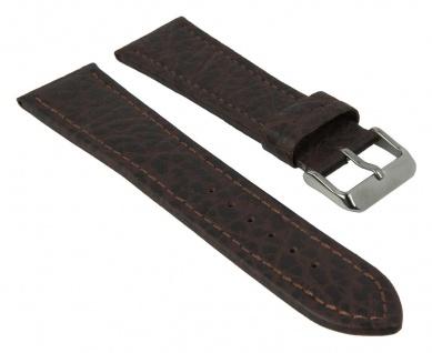 Uhrenarmband XL   aus Büffelkalbsleder / grob genarbt   dunkelbraun mit Naht   35080