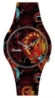 DOODLE WATCH ? Armbanduhr für SIE & IHN Ø 39mm | Silikonband > Roter Drachen > DODR002