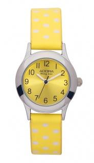 Adora Young Line   analoge Quarz Armbanduhr für Mädchen   PU-Band gelb / weiße dots   36171