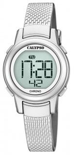 Calypso Kinderarmbanduhr Quarzuhr Digital Kunststoff silbern mit Stoppfunktion, Alarm, Licht K5736/1