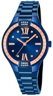 Calypso   Damenarmbanduhr Quarzuhr Kunststoffuhr mit Kunststoffband blau analog K5720/6