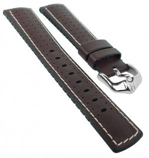 HIRSCH Performance L | Uhrenarmband aus Leder/Kautschuk schwarz/braun perforiert 30989S
