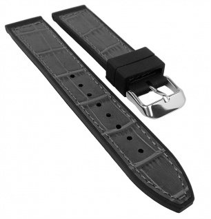 Herzog Uhrenarmband 20mm oder 22mm   Silikon/Leder-Mix, grau mit Naht 32237S