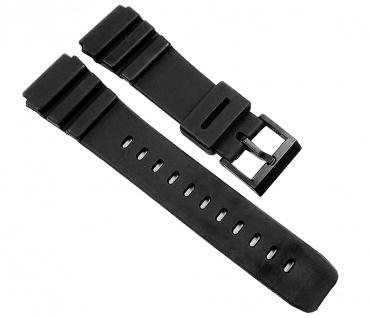 Uhrenarmband Kunststoff Band glatt schwarz 22mm Minott 21603