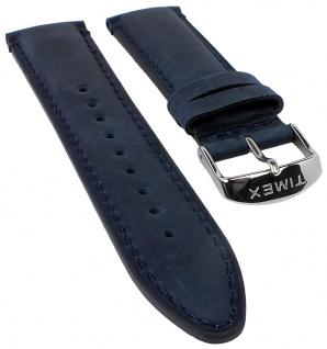 Timex The Waterbury Uhrenarmband Leder Band blau mit Naht 22mm für TW2P75400