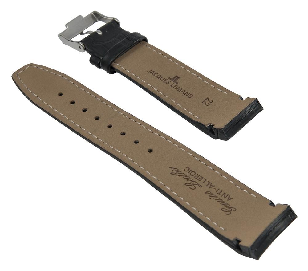 Ersatzband Leder schwarz gelbe Naht passend zu Jacques Lemans JL 1-1655 1-1652