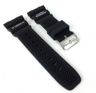 Calypso K5764 Ersatzband schwarz Kautschuk Spezial Anstoß Schließe silberfarben K5764/6