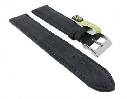 Herzog Uhrenarmband Echt Alligator Leder Band grau 26713S