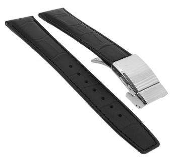 Citizen Eco-Drive Uhrenarmband Leder 20mm schwarz Krokoprägung AS2050-10A