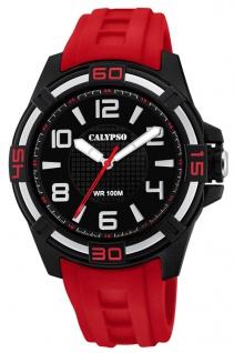 Calypso Herrenarmbanduhr analoge Quarzuhr aus Kunststoff mit Silikonband schwarz/rot K5760/3