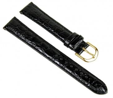 Uhrenarmband Ersatzband Leder Band Schwarz glänzend 23254G