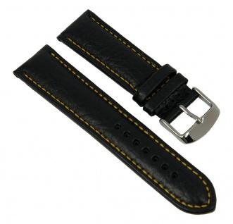 Minott Uhrenarmband Kalbsleder Band schwarz mit gelber Kontrastnaht 27444S