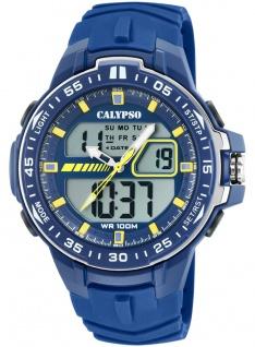 Calypso Digital Armbanduhr PU-Band blau Kunststoff Quarzwerk Analog Digitaluhr K5766/1 K5766
