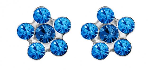 STUDEX Blume Erstohrstecker Steinimitation blau Edelstahl 100% Steril 34205