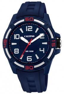 Calypso Herrenarmbanduhr analoge Quarzuhr aus Kunststoff mit Silikonband dunkelblau K5760/2