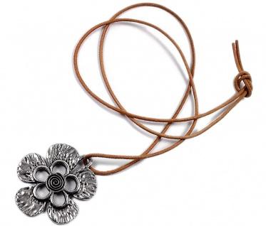 Minott Kette braunes Lederband zum verknoten mit Anhänger Blume 21396