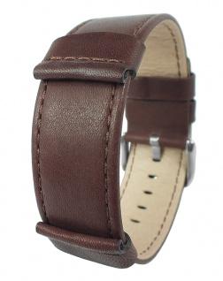 HIRSCH REBEL L | Uhrenarmband mit Unterlage, gleichlaufend, Leder Braun 31653