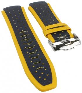 Biżuteria i Zegarki Ersatzband Leder schwarz gelbe Naht passend zu Jacques Lemans JL 1-1655 1-1652
