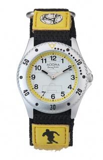 Adora Young Line   analoge Quarz Armbanduhr für Jungen   Klettband gelb - Fußballmotiv   36177