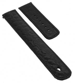 Junghans MEGA SOLAR Ersatzband 20mm Leder schwarz Krokoprägung glänzend 025/4300