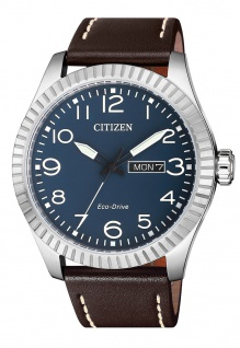Citizen Armbanduhr | Eco-Drive Solarzelle | Lederband, braun | Datumsanzeige > BM8530-11L