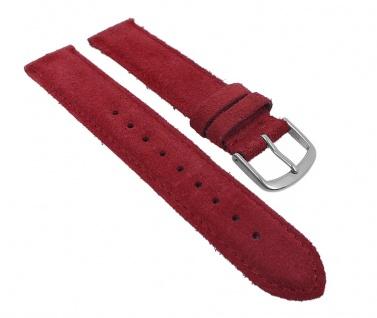 Herzog Uhrenarmband Sylt Veloursleder Band Rot 26768S