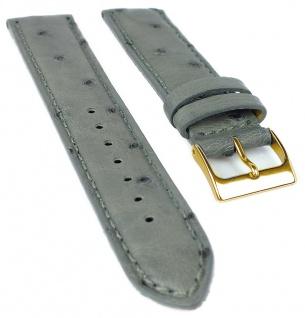 Herzog Ersatzband 20mm Uhrenarmband grau Straußleder Band Naht gepolstert Dornschließe