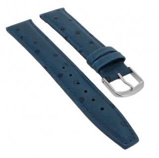 Straußprägung Uhrenarmband Kalbsleder Band Blau 20748S