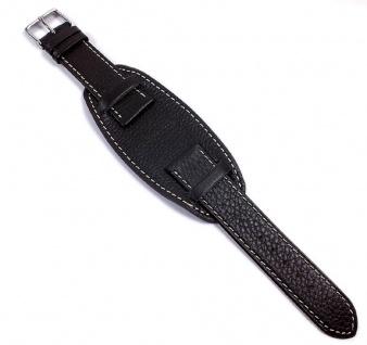 Minott   Uhrenarmband Leder Band mit Unterlage schwarz mit Kontrastnaht weich 21487S