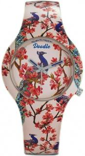 DOODLE WATCH Armbanduhr für SIE Ø 35mm Silikon beige/bunt Flamingo DO35005