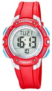 Calypso Kinderarmbanduhr Quarzuhr Digitaluhr Kunststoff rot mit 2. Zeitzone Alarm Stoppfunktion K5739/1