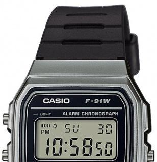 Casio Collection F-91WM-1BEF digital Uhr mit Automatischer Kalender / Resinband schwarz - Vorschau 3