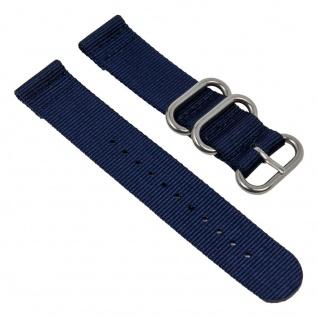 Uhrenarmband Textil Band dunkelblau mit silberfarbenen Metallschlaufen Minott 28233S