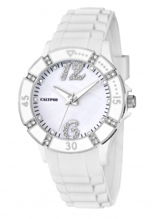 Calypso Armbanduhr Damenuhr Analoguhr 5 ATM mit Zirkonia K5650