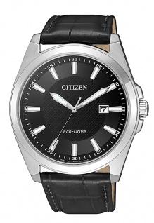 Citizen Armbanduhr Eco-Drive Solarzelle Lederband schwarz Datum BM7108-14E
