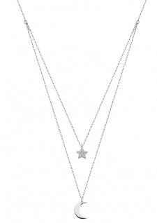 Lotus Silver TRENDY Halsschmuck Kette mit Anhänger Mond und Stern LP1680-1/4