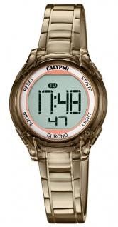 Calypso Kinderarmbanduhr Quarzuhr Digitaluhr Kunststoffuhr braun mit Alarm Stoppfunktion und Licht K5737/6