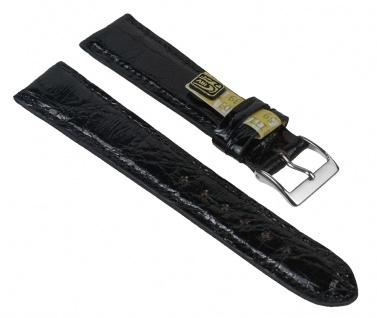 "Uhrenarmband "" Echt Krokodil"" Krokodilleder Band schwarz 25891S-D"